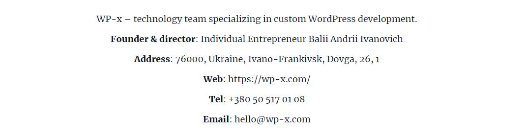 WP-x company impressum